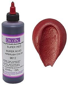 DECOPAC Premium Airbrush Color, Super Red, 8 oz.
