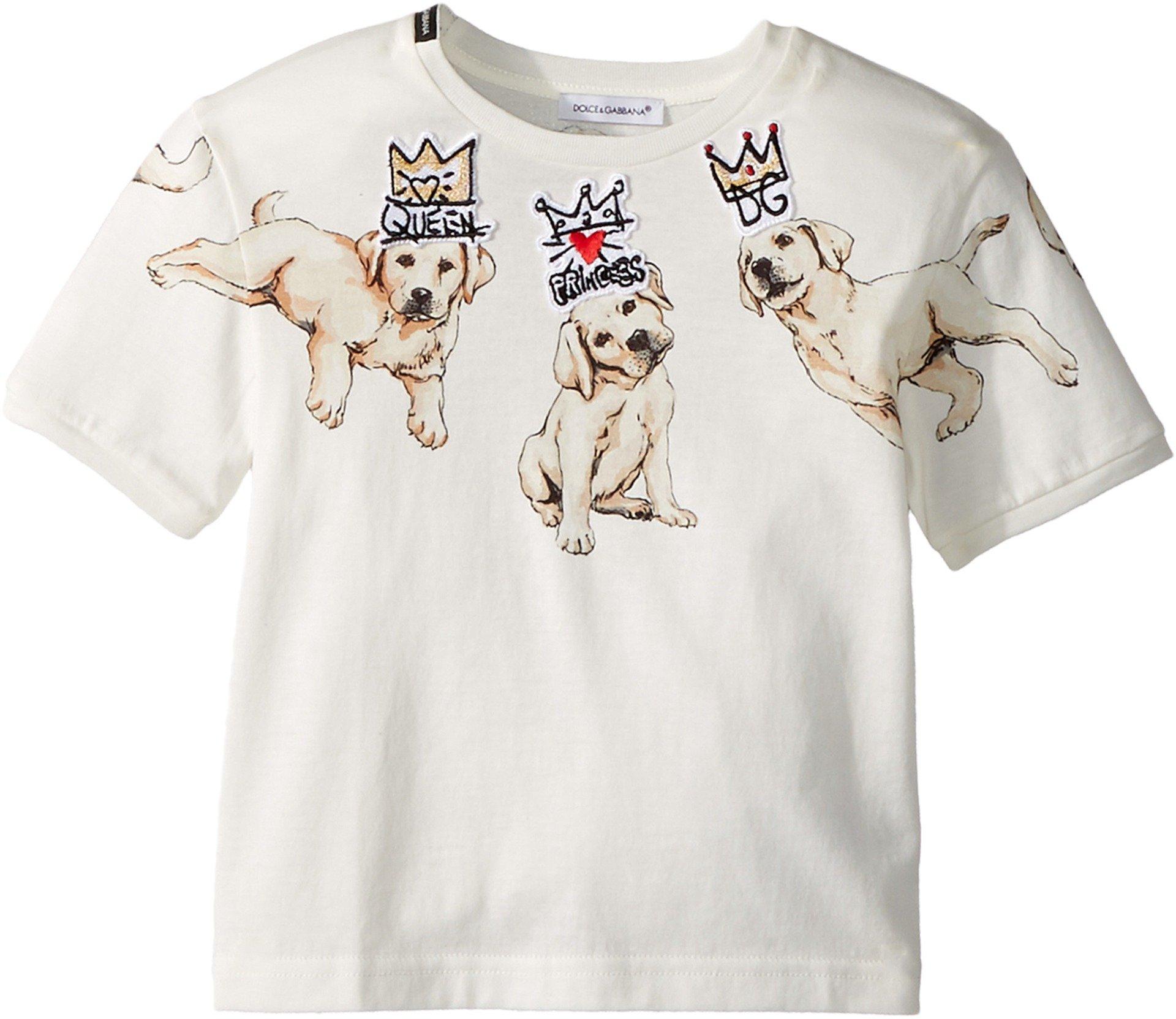 Dolce & Gabbana Kids Baby Girl's Dog T-Shirt (Toddler/Little Kids) White Print 6