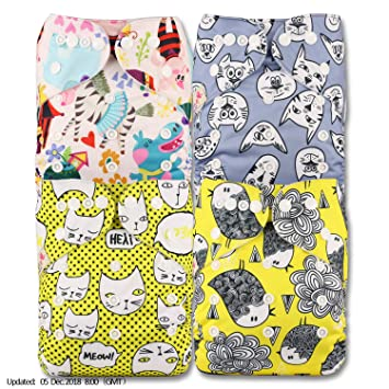 Littles /& Bloomz Fastener: Popper with 4 Bamboo Charcoal Inserts Patterns 404 Set of 4 Reusable Pocket Cloth Nappy