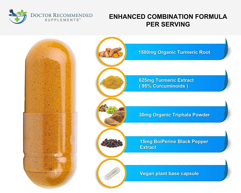 Turmeric Curcumin - 2250mg/d - 180 Veggie Caps - 95% Curcuminoids with Black Pepper Extract (Bioperine) - 750mg Capsules - 100% Organic - Most Powerful Turmeric Supplement with Triphala