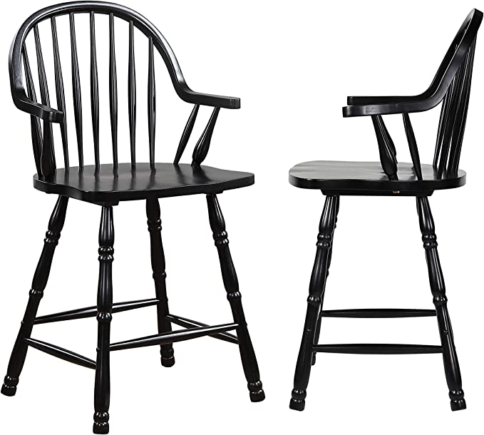 Sunset Trading 24 Counter Height Windsor Arm Stool Antique Black Set Of 2 Antique Black With Cherry Rub Furniture Decor
