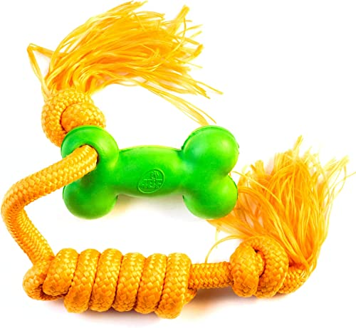 4BF Natrural Rubber and Rope Tugging Bone Dog Toy
