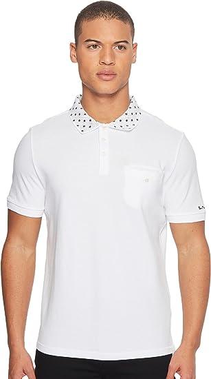 41b09357d Ben Sherman Men s Short Sleeve Target Print Collar Polo White Small  Amazon. co.uk  Clothing