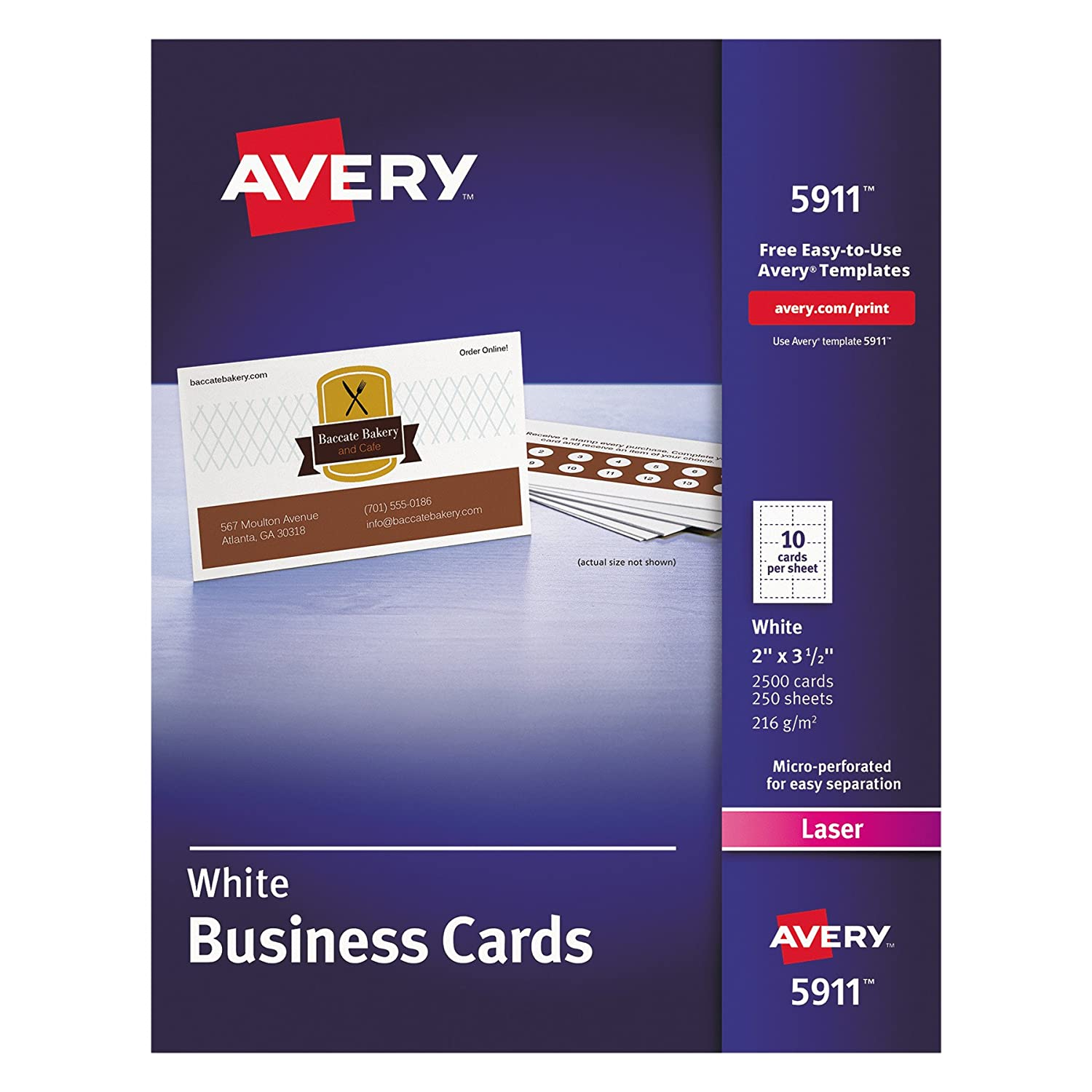 Amazon.com : Avery 5911 Printable Microperf Business Cards, Laser, 2 ...