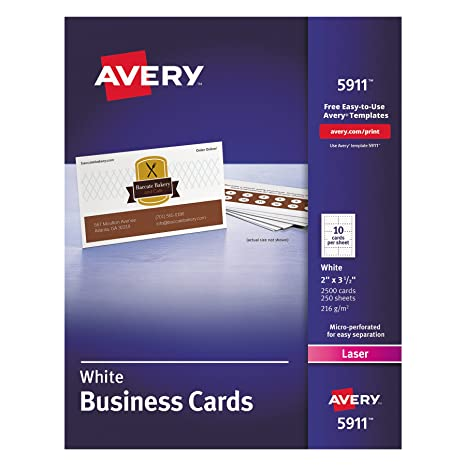 Amazon avery printable business cards laser printers 2 500 amazon avery printable business cards laser printers 2 500 cards 2 x 35 5911 business card stock office products reheart Images