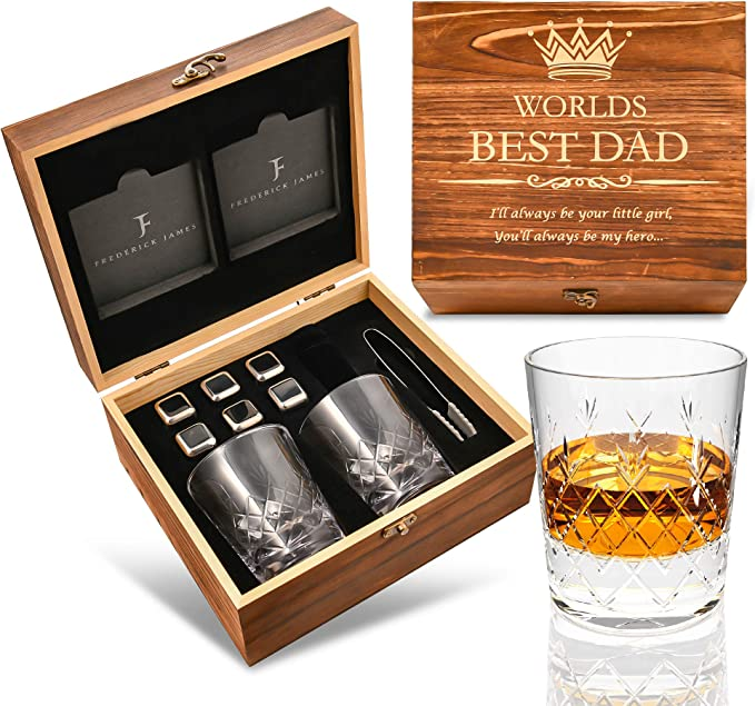 Gifts for Dad from Daughter - Engraved 'Worlds Best Dad. You'll Always be my Hero' Whiskey Glass Set I Fathers Day Gifts from Daughter I Dad Gifts from Daughter I Dad Birthday Gifts from Daughter