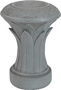 Sunnydaze Tropical Leaves Indoor/Outdoor Gazing Globe Stand -Column-Style Gazing Ball Pedestal for 10-Inch to 12-Inch Garden Spheres - Travertine - 14-Inch