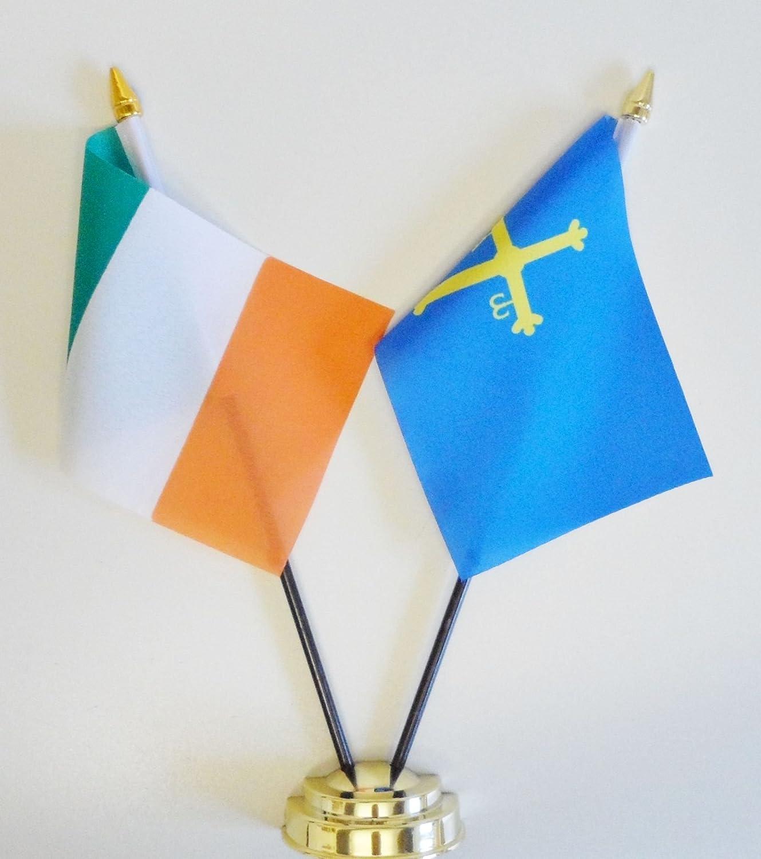 Irlanda y Asturias amistad Bandera de mesa pantalla 25 cm (10 ...