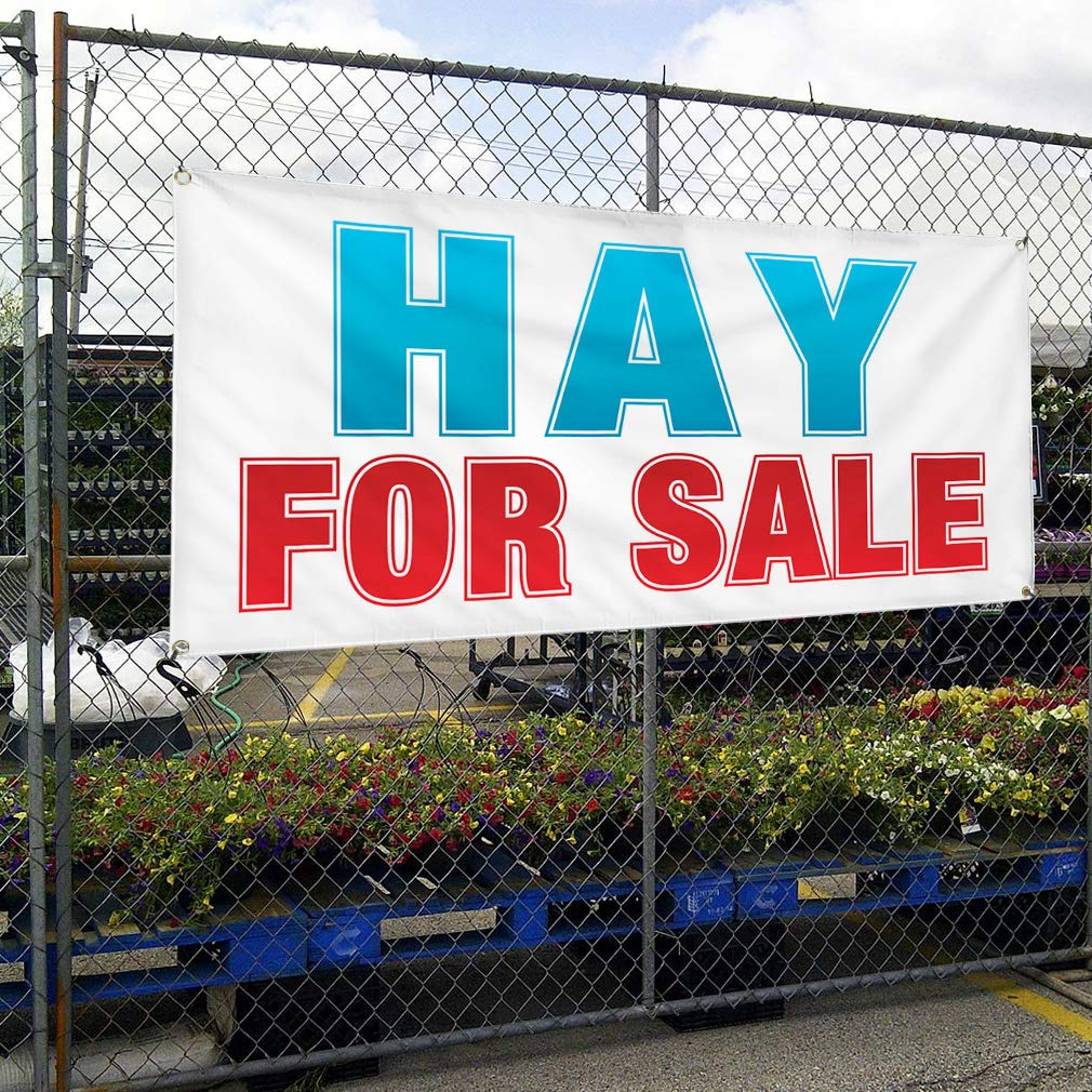48inx96in Vinyl Banner Sign Hay for Sale Business Style U Business Hay Marketing Advertising Red One Banner 8 Grommets Multiple Sizes Available
