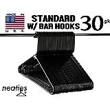 Neaties Black Plastic Hangers Premium Medium Weight Quality w/Bar Hooks, American Made Long Lasting Quality Hangers, Set of 30