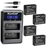 Kastar Dual LCD USB Charger and 4 Pack Battery for Fujifilm NP-W126 NP-W126s BC-W126, Fujifilm X-PRO1 X-PRO2 X-A1 X-A2 X-A3 X-A5 X-A10 X-E1 X-E2 X-E2S X-E3 X-M1 X-T1 X-T2 X-T3 X-T10 X-T20 X-H1 Cameras (Tamaño: 4 Batteries + 1 Charger)