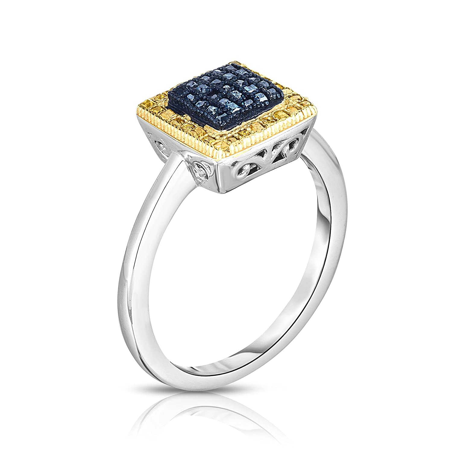 Fancy Blue and Yellow Diamond Square Engagement Ring 1//3ctw Sizes 5-9