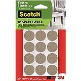 Feltro Sintético para Móveis Leves 3M Scotch Redondo Marrom Médio - 12 unidades