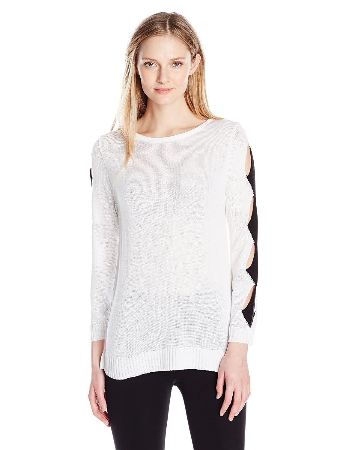 NY Collection Womens Plus Size Long Boat Neck Pull Over with Cut Out Detail Along Sleeve