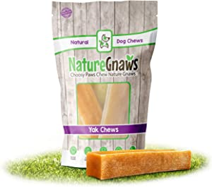 Nature Gnaws Yak Chews for Large Dogs - Premium Natural Hard Cheese Bones - Thick Long Lasting Dog Chew Treats for Aggressvie Chewers - Rawhide Free