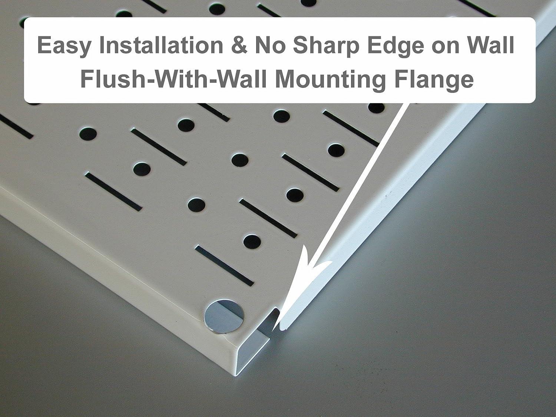 Wall Control Pegboard 16in x 32in Horizontal White Metal Pegboard Tool Board Panel