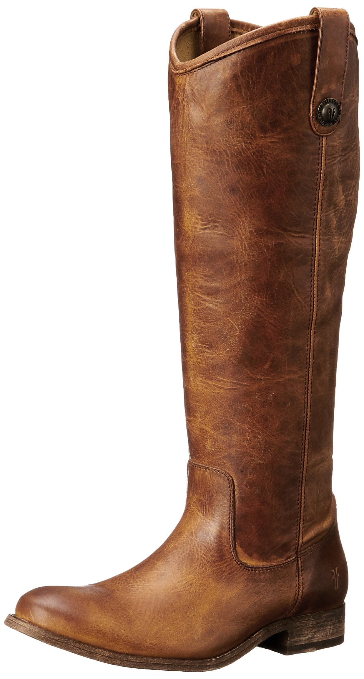 FRYE Women's Melissa Button Boot, Cognac Washed Antique Pull-Up, 8 M US
