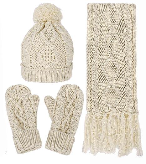 Amazon Com Women S Winter Warm Cable Knit 3 Piece Fleece Hat Glove