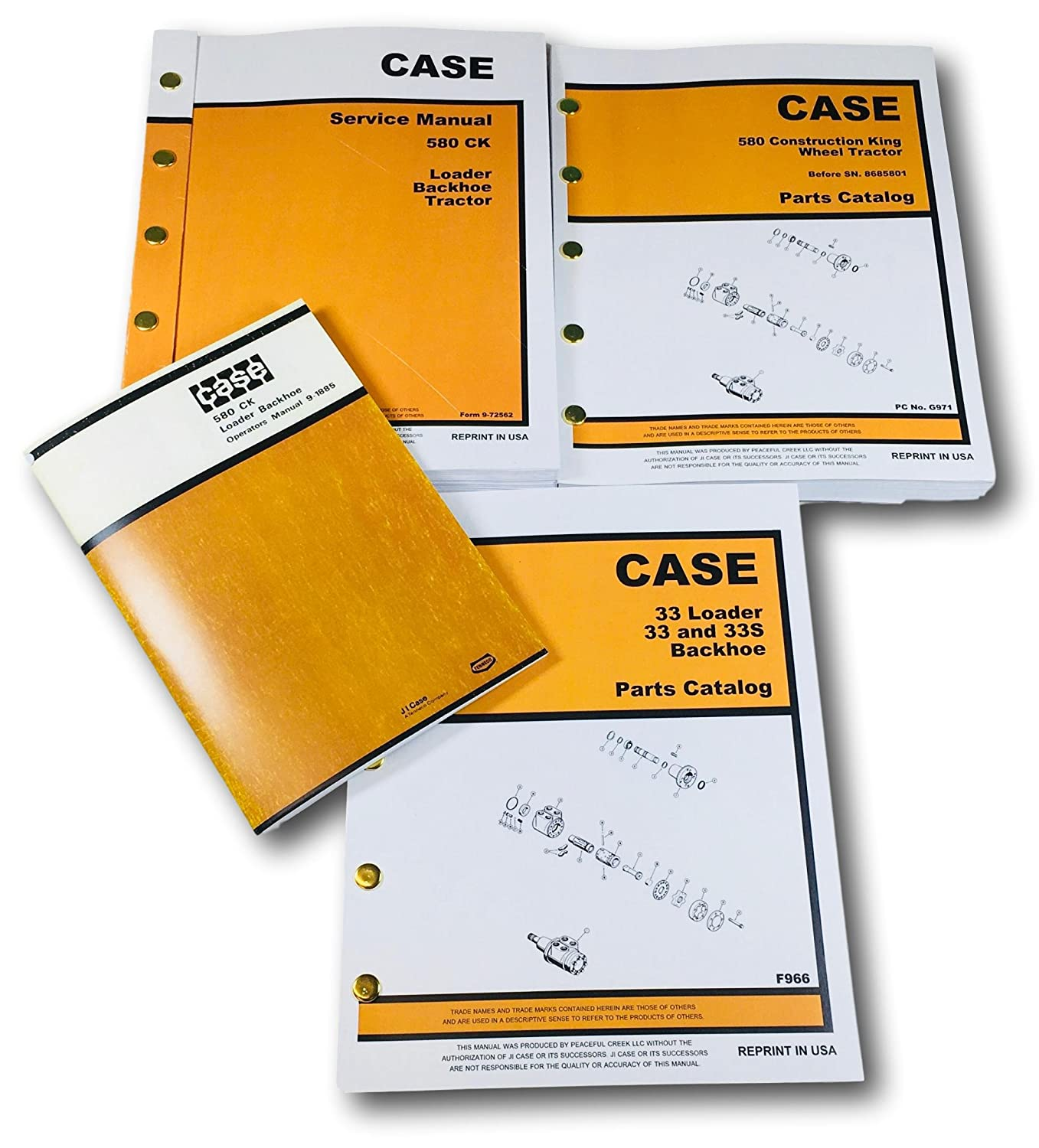 Amazon.com: Case 580 CK Tractor Loader Backhoe Service, Parts and Operators  Manual Set Serial Numbers up to 8685801 1966 through 1971: Industrial & ...