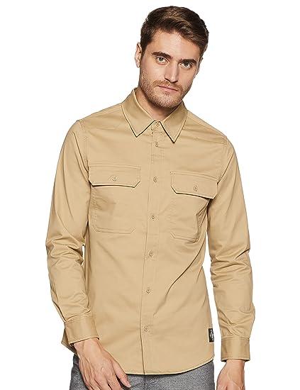 770a556886 Calvin Klein Jeans Men s Solid Slim fit Casual Shirt (J311701 Khaki Medium)