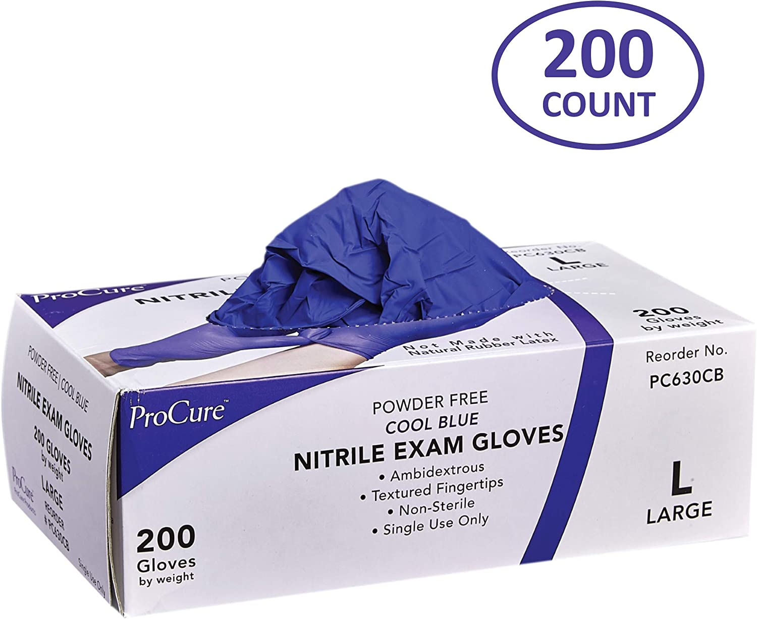 ProCure Disposable Nitrile Gloves – Powder Free, Rubber Latex Free, Medical Exam Grade, Non Sterile, Ambidextrous - Soft with Textured Tips – Cool Blue (Large, 1 Pack, 200 Count)