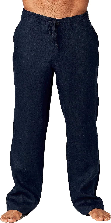 Mariyaab Mens Casual 100/% Linen Pants with Drawstring and Elastic Waist