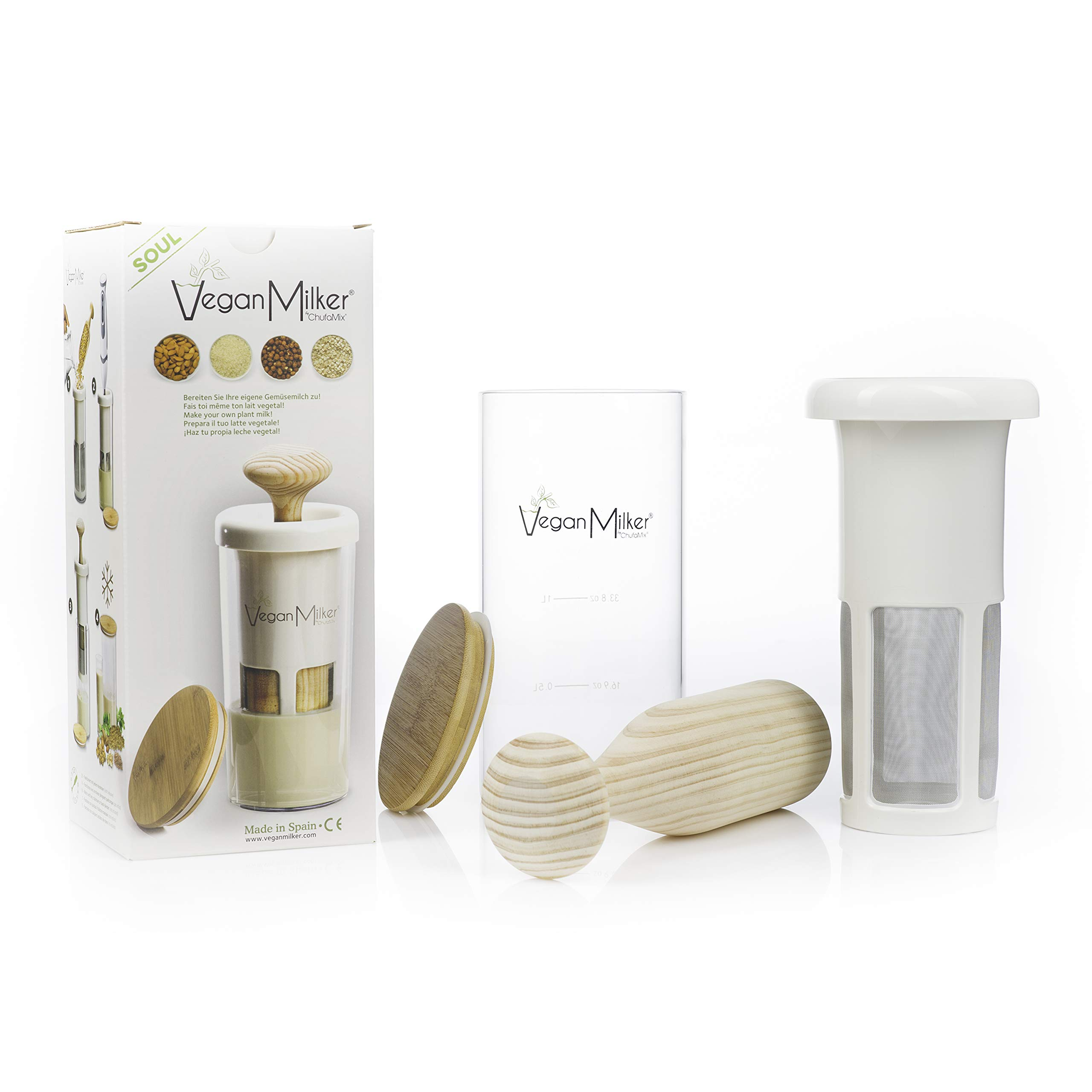 VEGAN MILKER SOUL, kitchen tool to make plant milks from any nut, grain or seed. 1 liter in 1 minute. Thermal shock resistant glass. Bamboo lid. Wooden mortar. Made in Europe. Free Recipe E-Book (PDF) by Chufamix