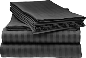 ELAINE KAREN COLLECTION 1500 Thread Count Striped 4 Pc QUEEN Sheet Set, BLACK