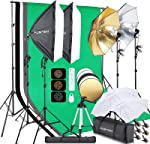 FOSITAN 9.2ft x 9.8ft Photography Lighting Softbox Kit Bi-Color Backdrop Stand