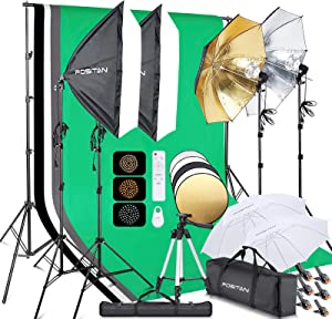 FOSITAN 9.2ft x 9.8ft Photography Lighting Softbox Kit Bi-Color Backdrop Stand kit 4 Color Lighting Studio kit Background with 3 Color Umbrellas Stand Phone Tripod Remote for Photo Video Shooting