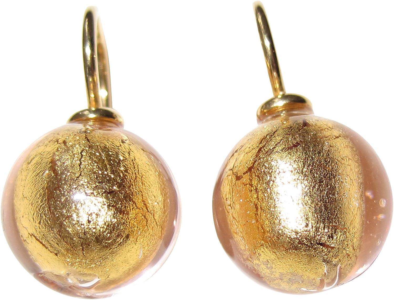 Oro rosa de farbene de oído de colgador Pendientes Cristal de Murano 12mm de diámetro Plata de ley oro de Gallay 585oro forjado de trabajo único mano