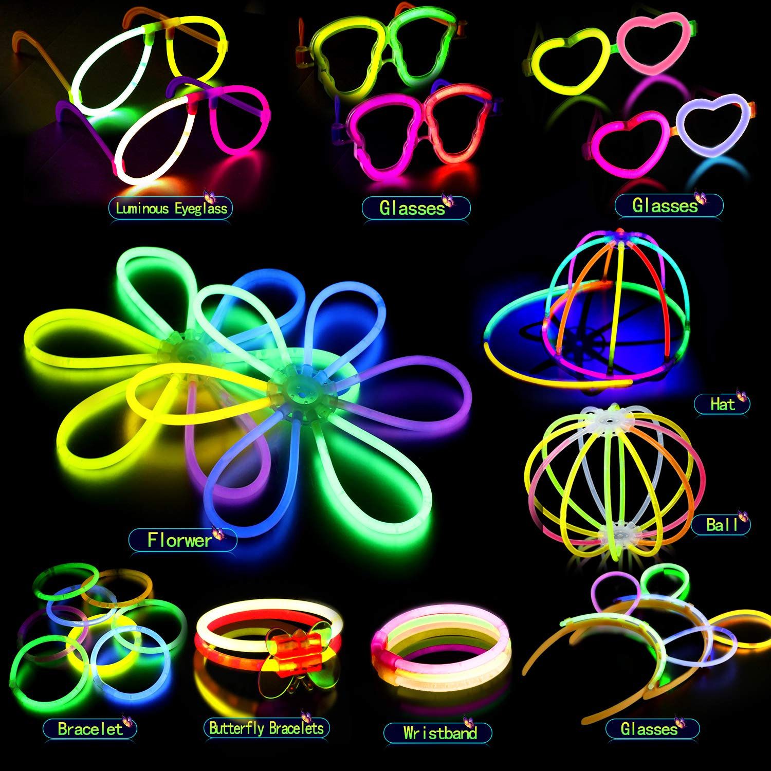 252pcs 8 UV Glow Sticks Mixed Colours Party Pack with Connectors for Bracelets Balls Necklaces Glasses Hats and More Light Up Toys for Kids Boys Girls Adults AMZJUPWM Glow Stick 252 PCS