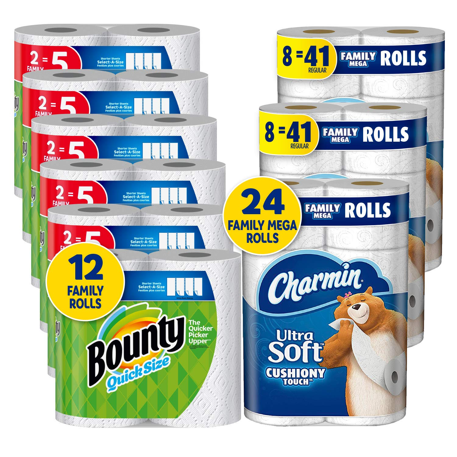 Charmin Ultra Soft Cushiony Touch Toilet Paper, 24 Family Mega Rolls and Bounty Quick-Size Paper Towels,12 Family Rolls, Bundle by Charmin