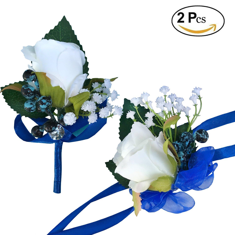DALAMODA Royal Blue Ribbon 2 Pcs Handmade Single Artificial Rose Head Boutonniere Wrist Corsage Wristband Bridesmaid Corsage Flower Wedding Party Boutonnieres(Pack of 2)