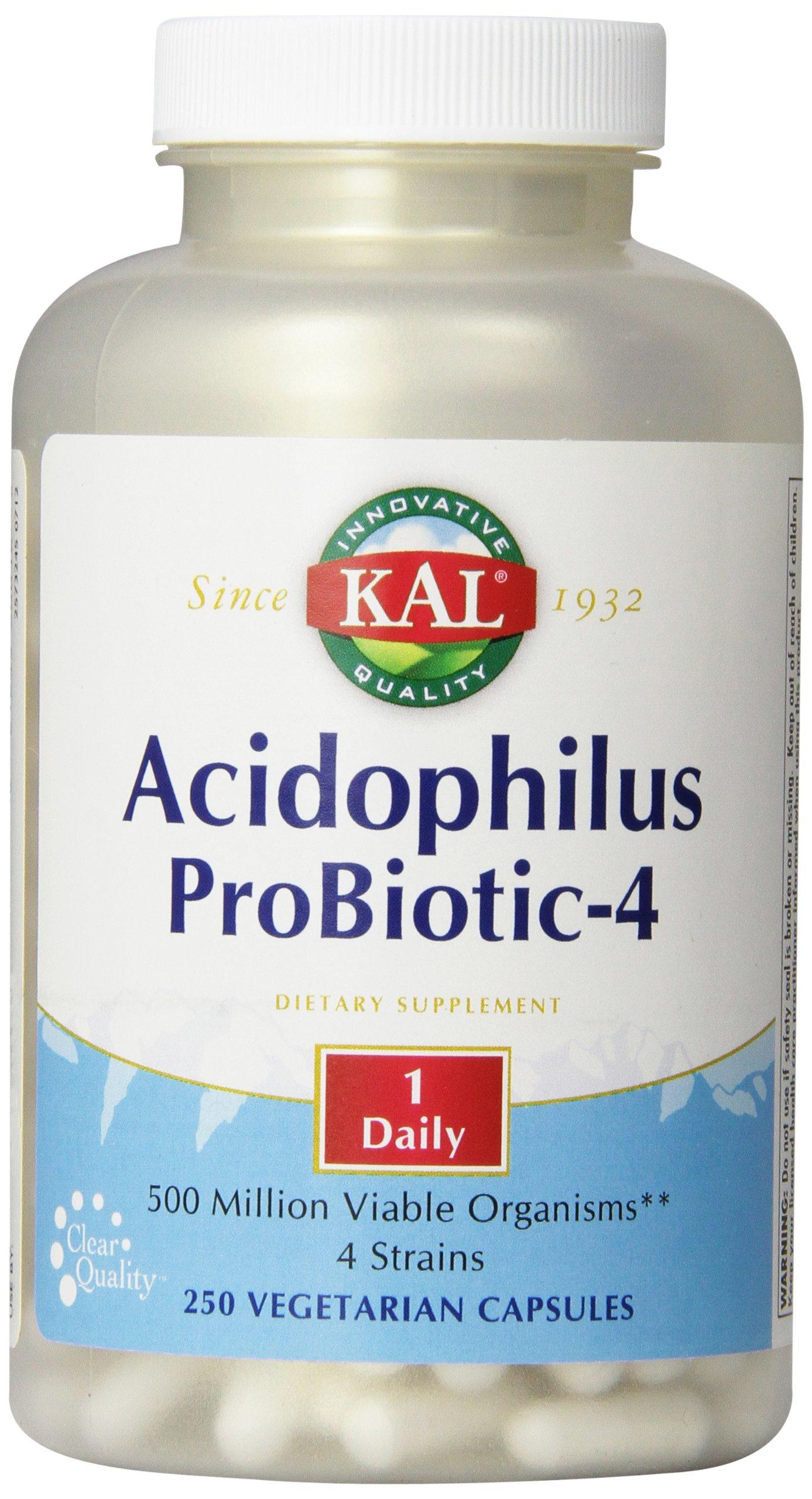 KAL Acidophilus Probiotic-4 Capsules, 250 Count