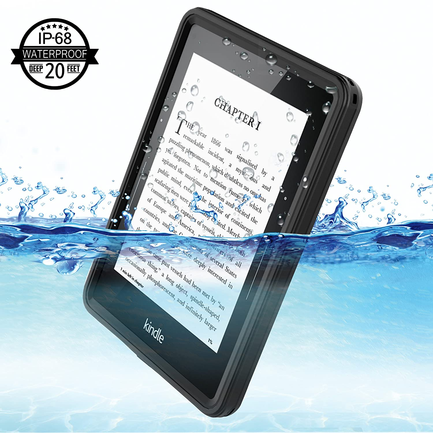 Kindle Voyage Waterproof Case  Temdan【Heavy Duty】 Rugged Built in Screen  Protector Sleek Transparent Case Shockproof Waterproof Case for Kindle