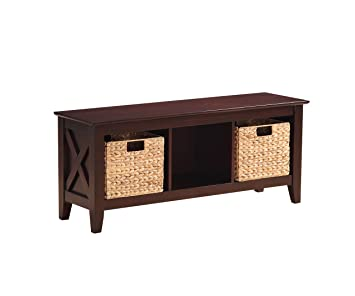 Pleasant Stylistics Gabriel Wooden Storage Bench With Baskets 48 X 20 X 14 Brown Gmtry Best Dining Table And Chair Ideas Images Gmtryco