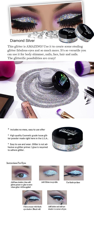 Glitterwarehouse Glitter For Eyeshadow Eye Shadow Shimmer Makeup Powder Diamond Silver