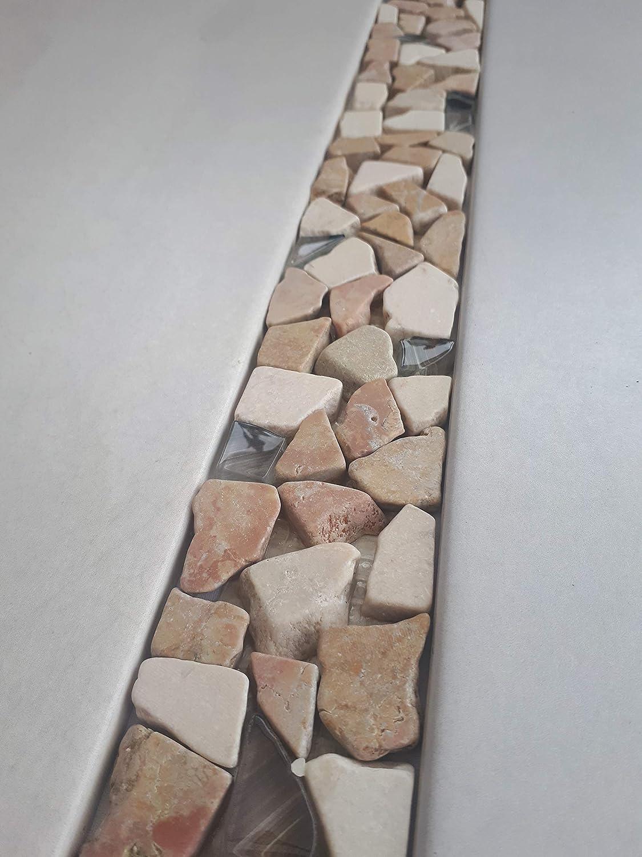 Naturstein Mosaik Bord/üre aus Marnor und Glas im Format von 30 x 5 cm Fliesen