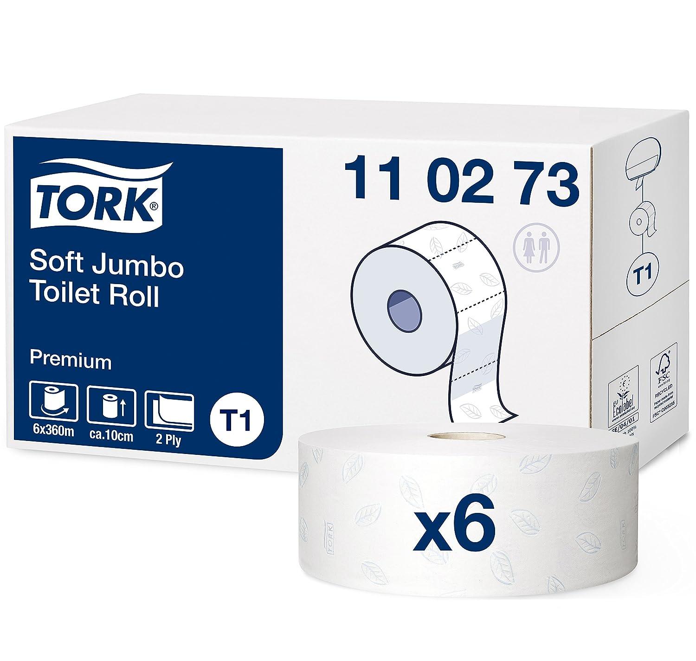 Tork 110273 Rollos de papel higiénico Jumbo Premium de larga duración de 2 capas compatibles con el sistema higiénico Jumbo Tork T1, 6 rollos (6 x 1800 ...