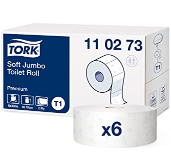 Tork 110273 Rollos de papel higiénico Jumbo Premium de larga duración de 2 capas compatibles con