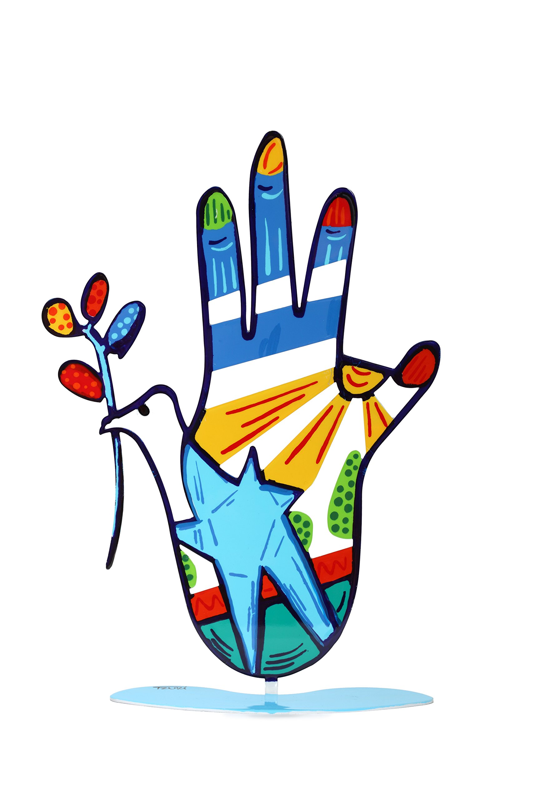 Dove Hamsa Hand with a Stand Multicolor Metal Steel Good Luck Blessing Peace Sign Home Art Home Decor Gift (Blue)