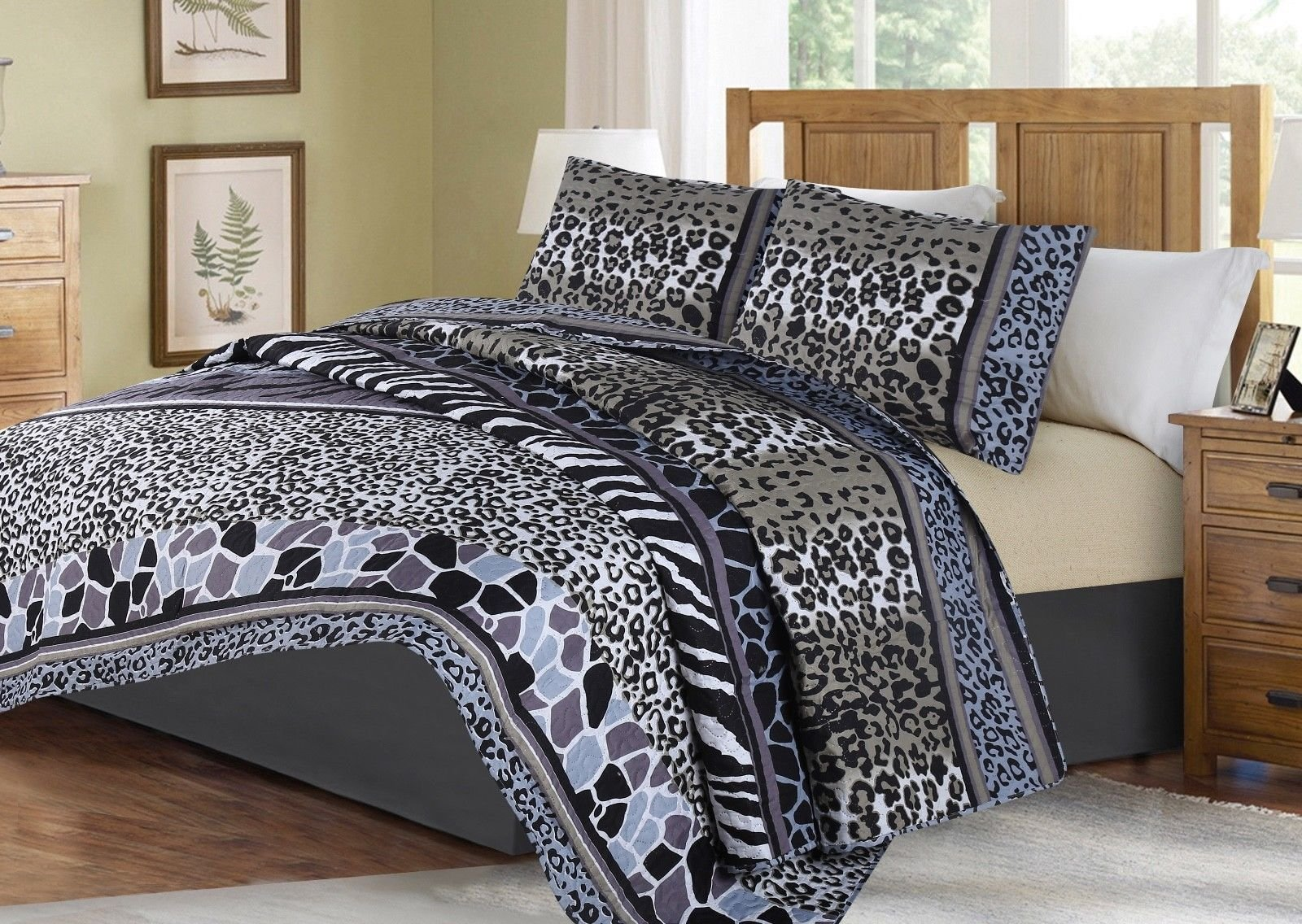 no!no! Printed Animal Designs Bedspread Coverlet Quilt Set with Pillow Shams Animal 6# Size King
