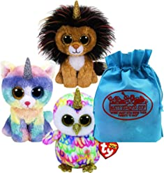 Ty Beanie Boos Fairytale Unicorns Ramsey (Lioncorn), Enchanted (Owlicorn) & Heather