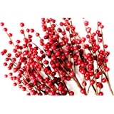 Set of 12 Red Berry Picks - Makes Great Addition to Any Christmas Decor, Wreath, Garland or Tree - 16 Inch