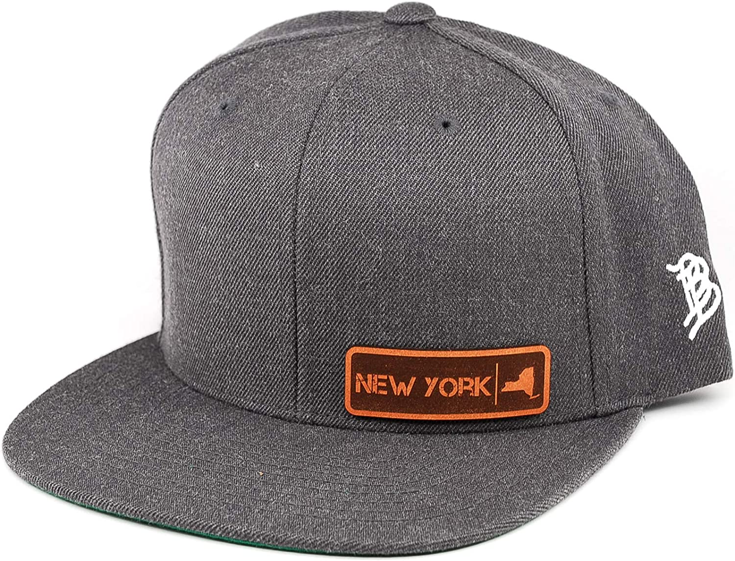 Branded Bills /'New York Native Leather Patch Snapback Hat OSFA//Charcoal