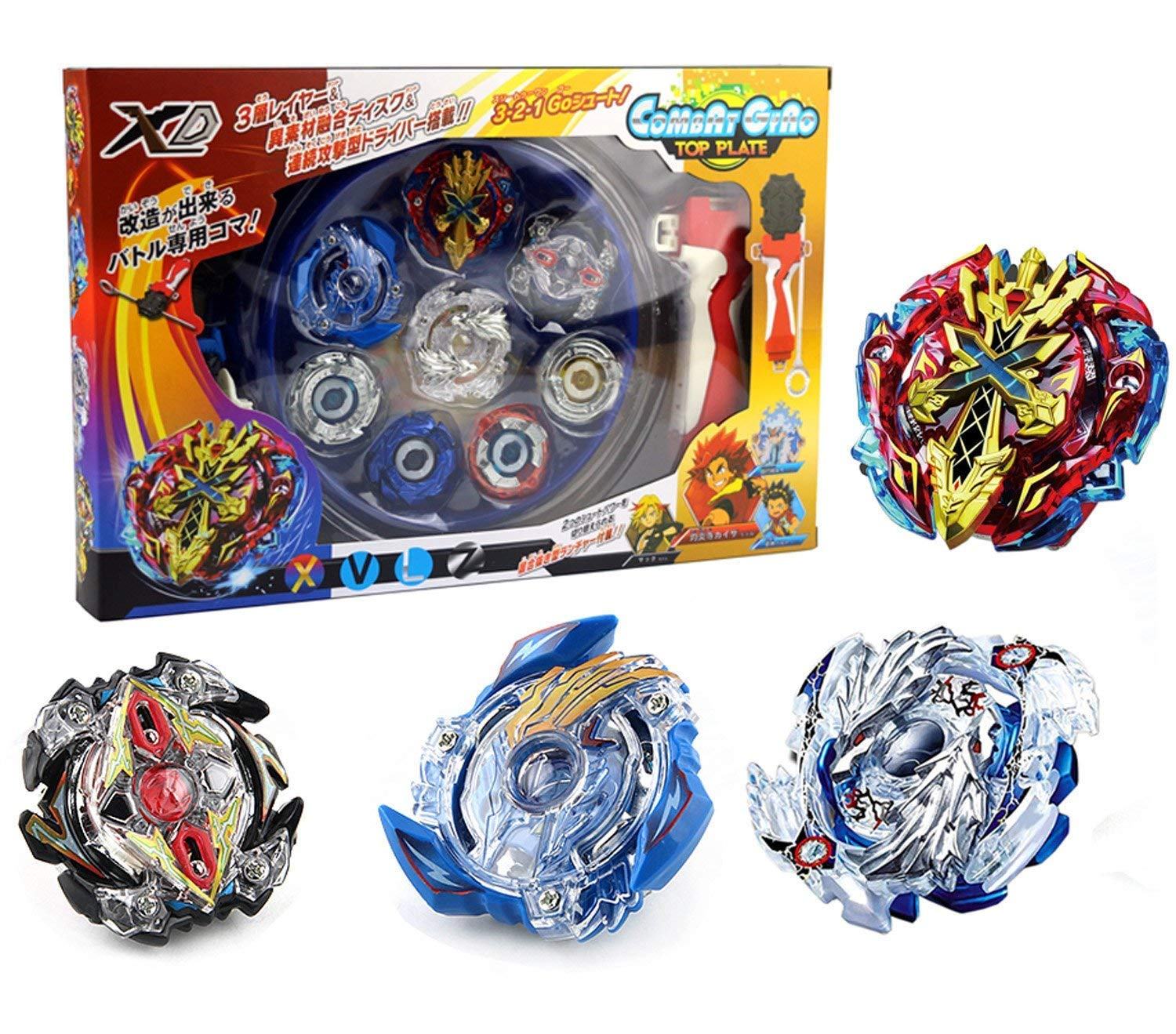 Bey Battle Burst High Performance Battling Top Set with 4D Launcher Grip and Arena Battle Set Aomeiter