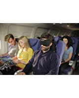 2 in 1 Travel Pillow- Sleep Mask and Memory Foam Pillow that Prevents Head Bobbing and Blocks Light for Better Sleep During Road and Air Travel-Jet Black
