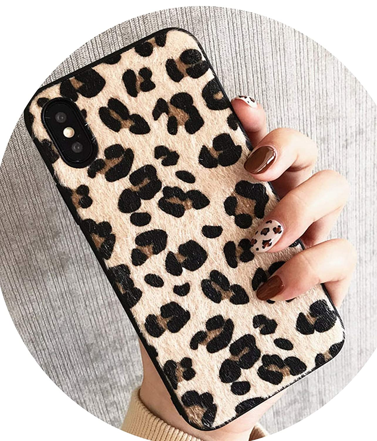 ins Leopard x/xs max Mobile Phone Shell iphone7plus/8/6s Plush Cloth XR Trend Female,misebao,for iPhone 6 6S