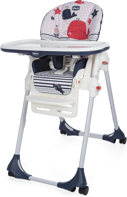 Chicco Polly Easy - Trona amplia, compacta y sencilla, 4 ruedas, para niños de 0 a 3 años, color azul